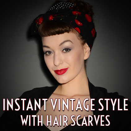 50s vintage style reversible hair scarves and pin up hair accessories