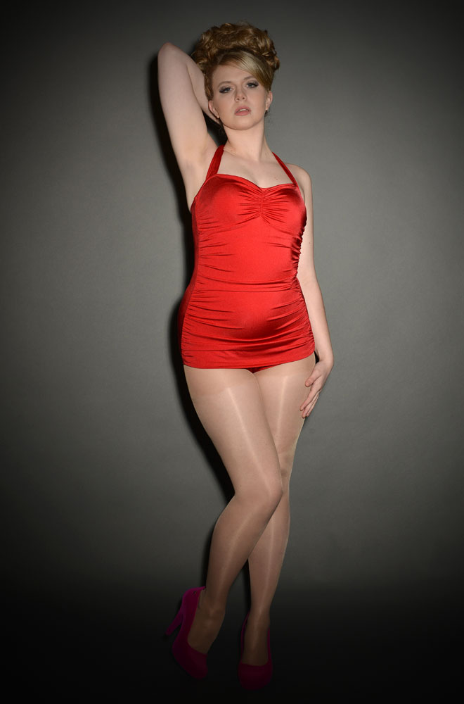 1950's style red swimsuit by Esther Williams at UK Stockists Deadly is the Female. We just love this Pinup style swimwear.