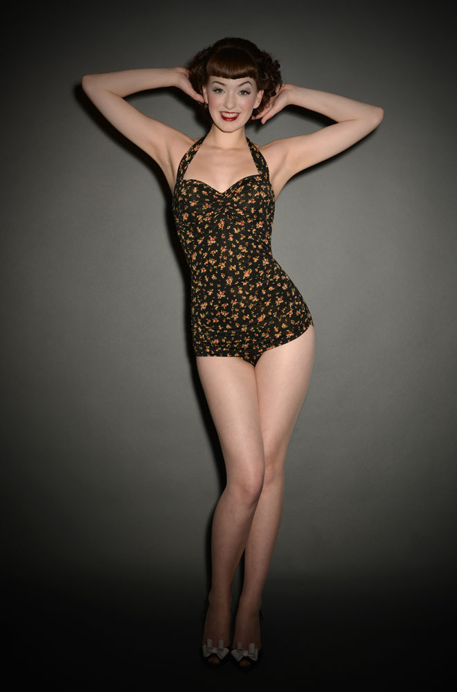 Vintage style floral Swimsuit by Esther Williams at UK Stockists Deadly is the Female. We just love this Pinup style swimsuit.