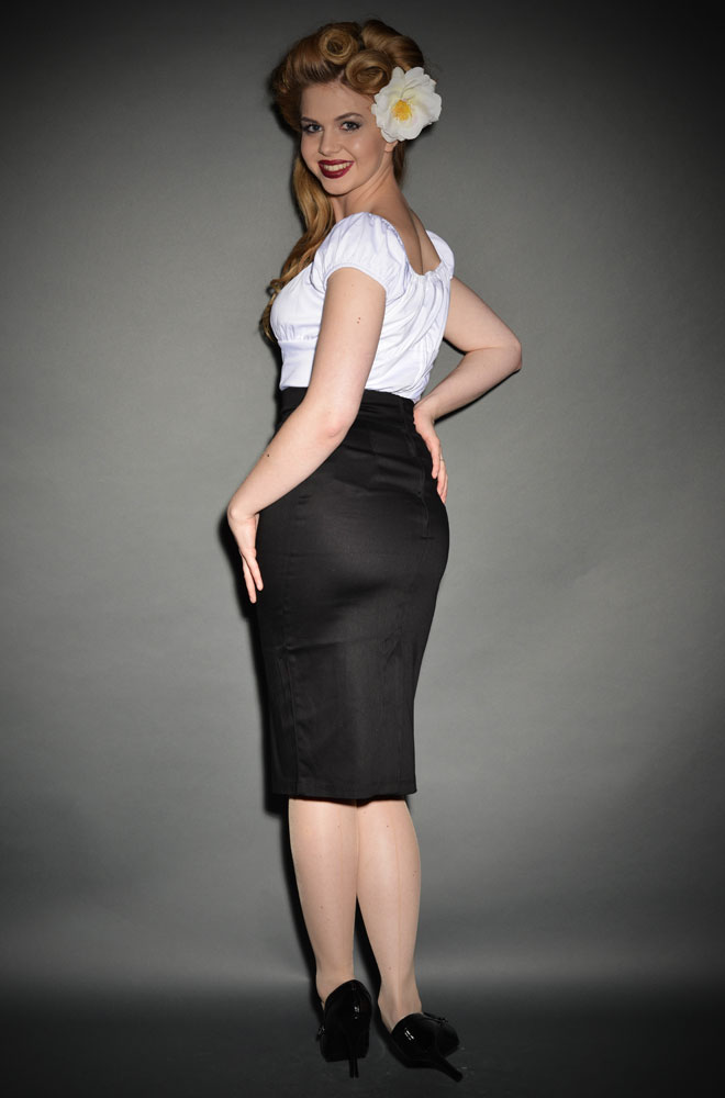 Pin Up Pencil Skirt in Black