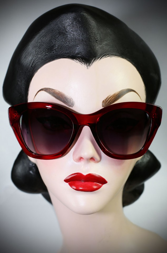 Red 40's cats eye sunglasses at Deadly is the Female. Effortlessly add some pinup glamour to your day!