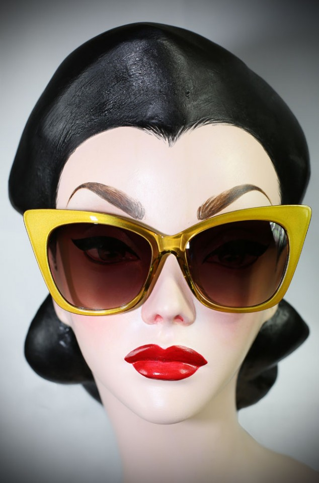 Vintage style Golden 70s Cat Eye sunglasses at Deadly is the Female. Effortlessly add some pinup glamour to your day!
