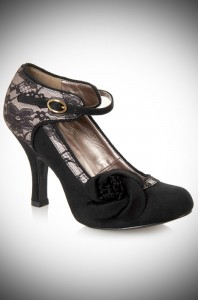 Elisha vintage style black lace heels with roses by Ruby Shoo at Deadly is the Female