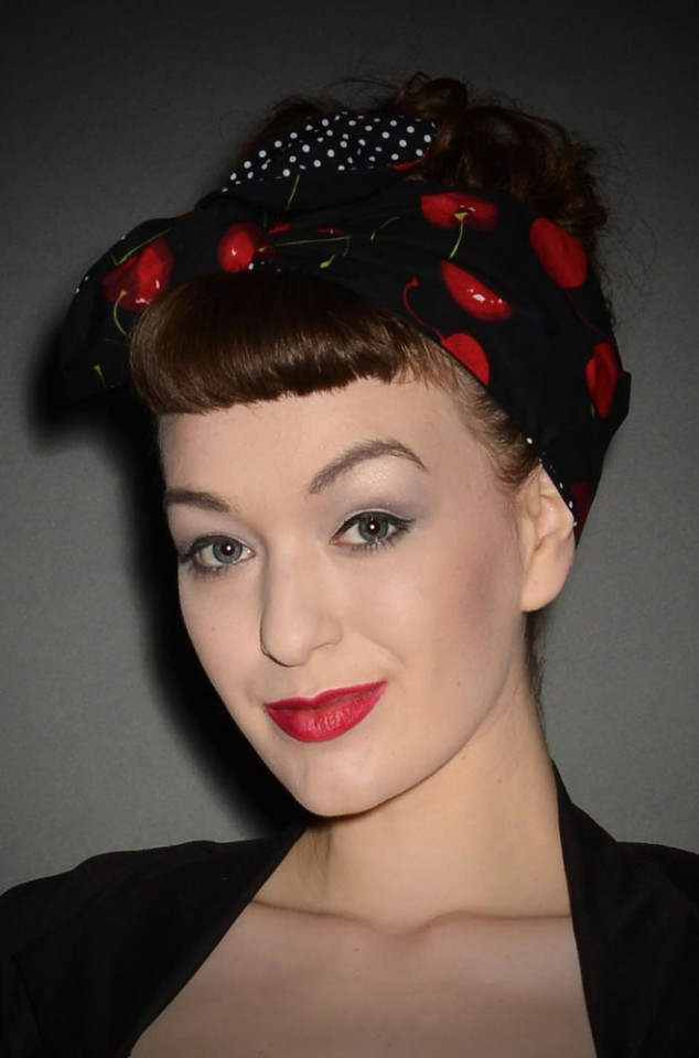 50's Style Hairband in Cherry Print