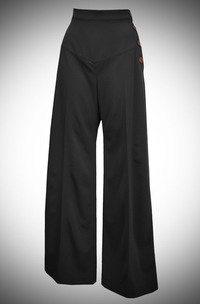 High Waisted Wide leg 30s style trousers at Deadly is the Female