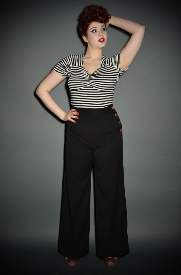 Authentic 30's style high waisted wide leg trousers with a deep yoke and side buttons in classic black at DeadlyistheFemale.com