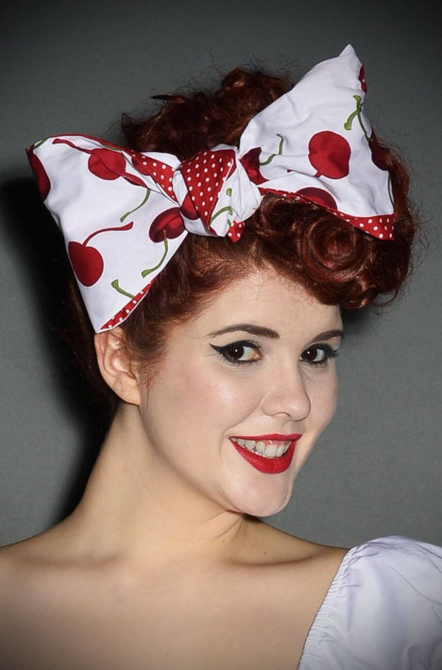 Paloma retro wired Hairband in Cherry print & Red polka dots