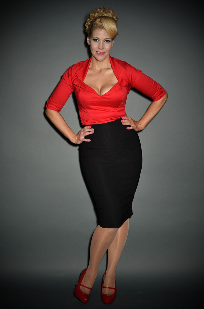 Pinup Girl Dixiefried Perfect Pencil Skirt in Black with a Pinup Girl Red Doris shirt. The Red Doris Top by Pinup Couture is a fabulous wardrobe essential. This fitted shirt comes in UK sizes 6/8 to 20/22. Official Pinup Couture UK stockists.