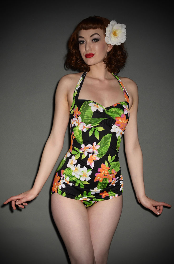 Esther Williams Hawaiian Pinup Swimsuit in a Tropical Print at UK Stockists Deadly is the Female. We just love these vintage inspired swimsuits!