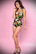 Hawaiian floral 50s style swimsuit designed by Esther Williams at Deadly is the Female