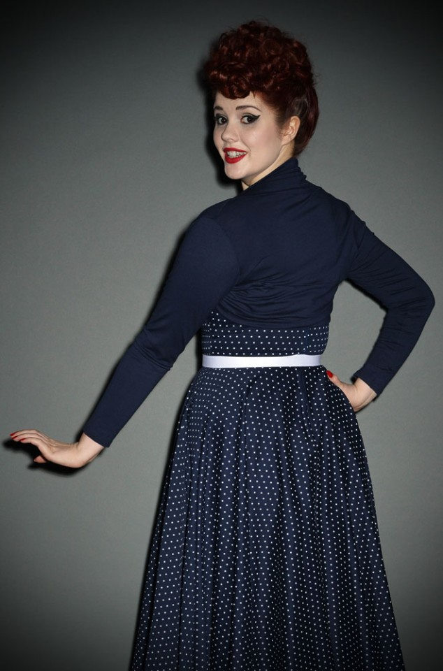 Vintage style navy Shrug with 50s style neckline at Deadly is the Female