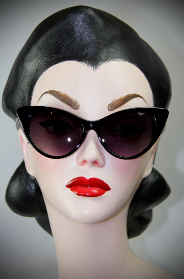 black 1950's style cats eye sunglasses at Deadly is the Female