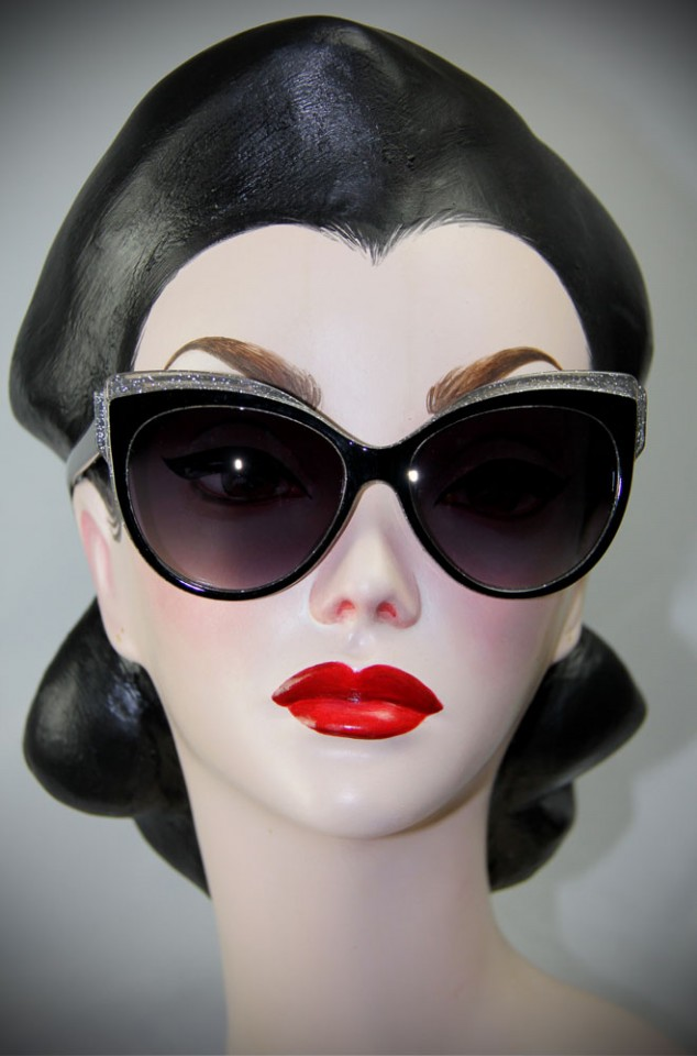 Black and Silver Thirties Cat Sunglasses at Deadly is the Female