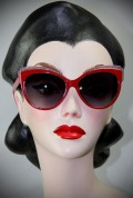 Red and Pink Thirties Cat Sunglasses at Deadly is the Female