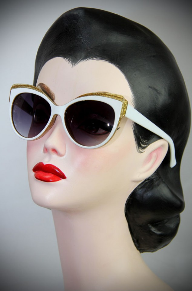 Vintage style White and Gold Thirties Cat Sunglasses at Deadly is the Female. The perfect way to add some vintage glamour and glitter to your pinup look.