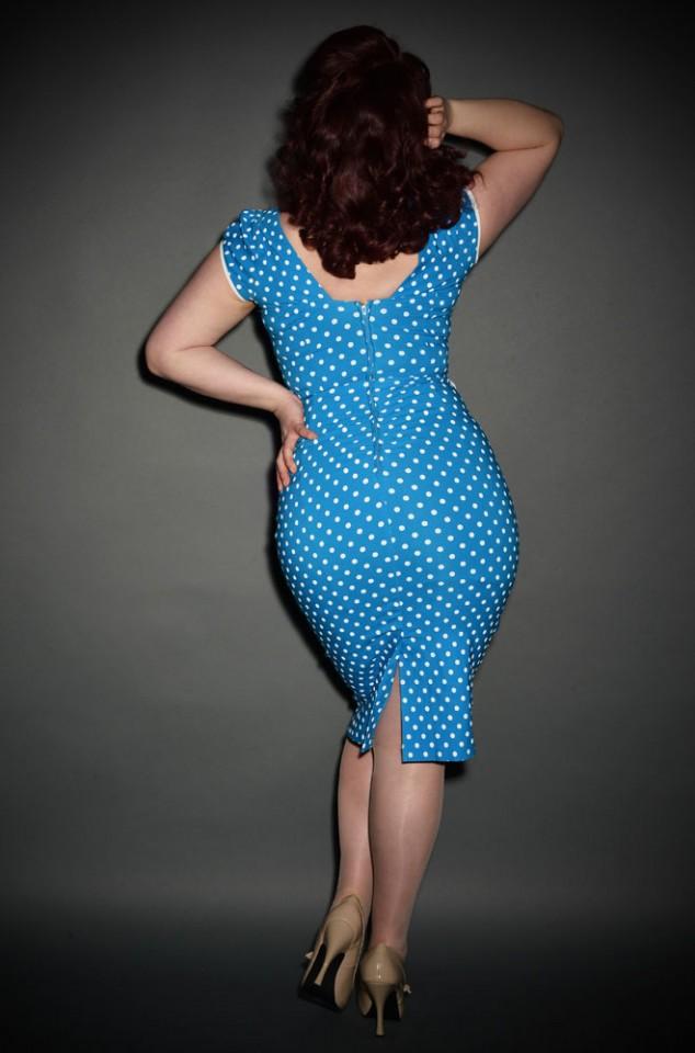 Stop Staring UK - Arabella 50's dress in blue & white polka dots