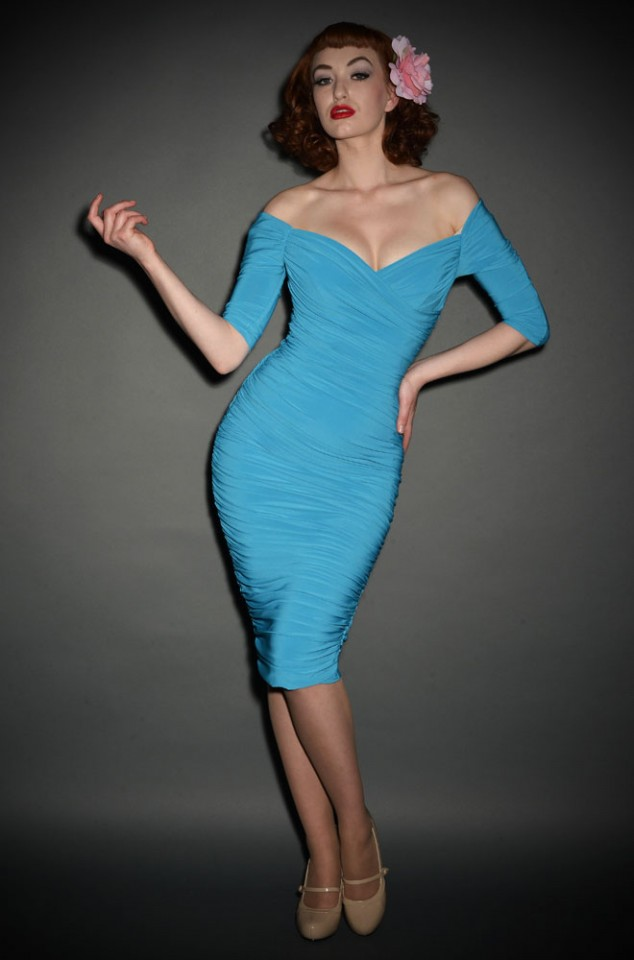 Monica blue Pinup Girl 50's wiggle dress Deadly is the Female