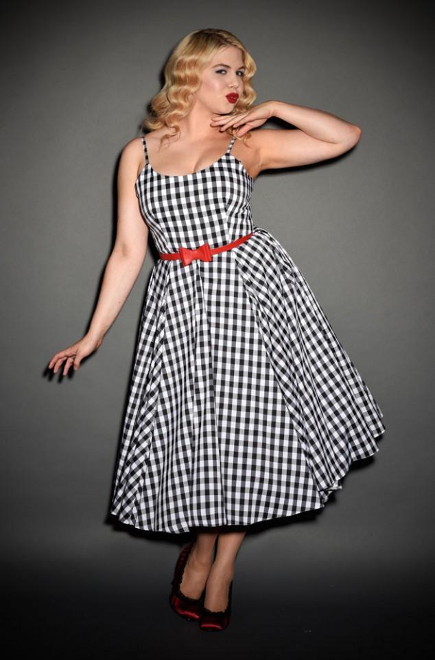 Priscilla 50s style Midi Swing dress in black and white gingham