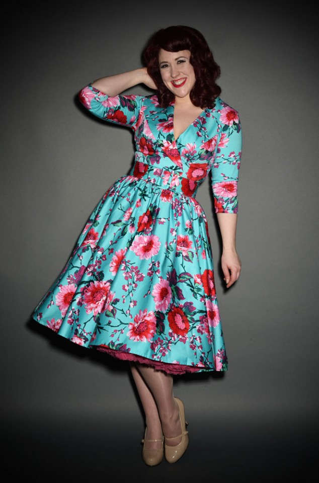 Pinup Couture 50s turquoise Floral Birdie Dress at Deadly is the Female