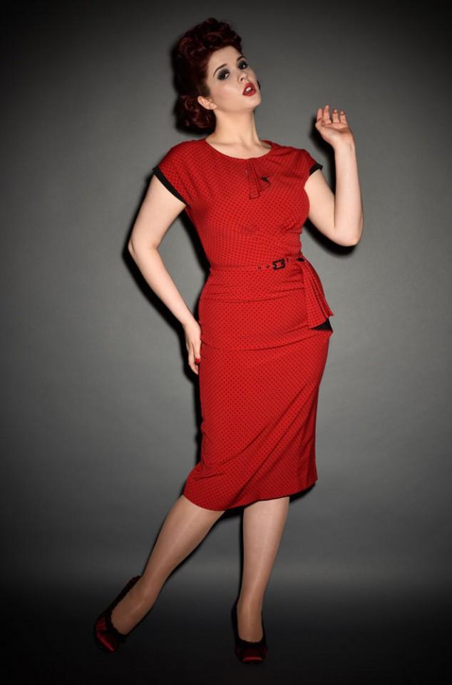Stop Staring Vintage style Red & black polkadot Timeless dress