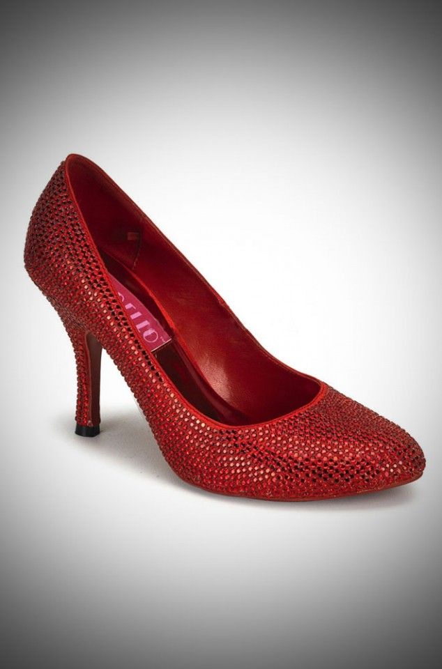 Ruby Red Rhinestone vintage style high heel shoes