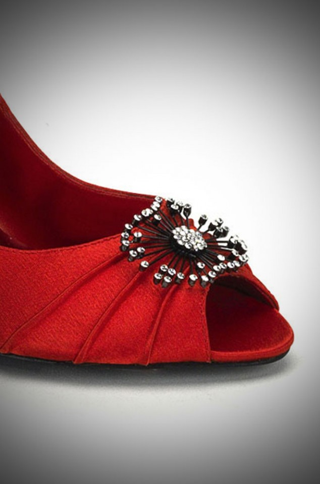 Red Satin peep toe heels with a 50s style rhinestone starburst over the toe
