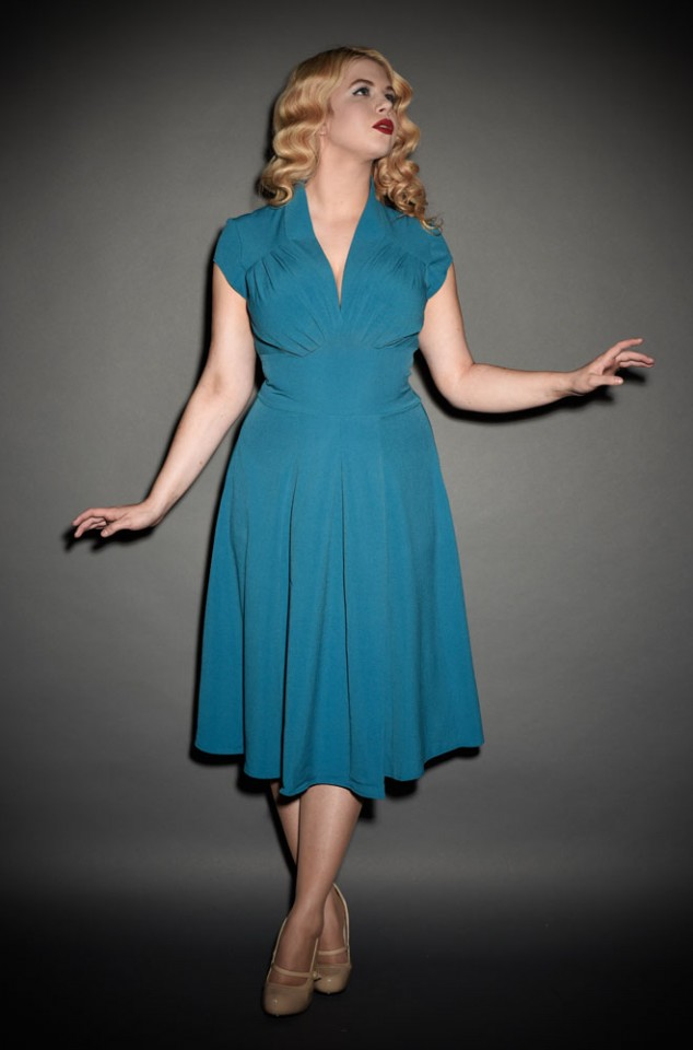 Teal blue 1940's style summer swing dress at Deadly is the Female