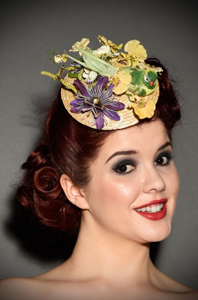 Vintage style fascinator hat with flowers, butterfly & a little bird