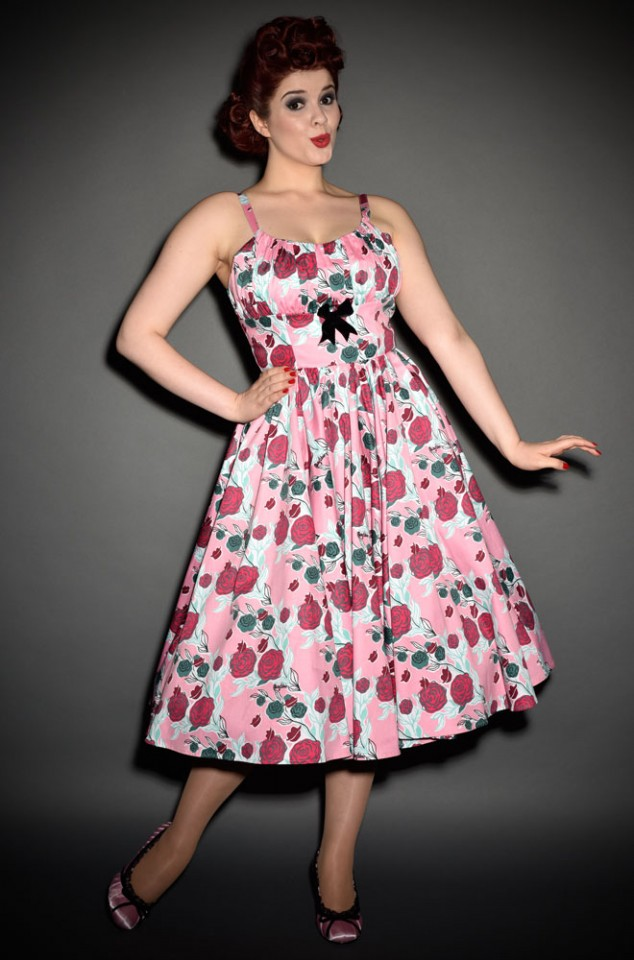 Ella dress in Mary Blair Lips & Roses print in pink - a 50's style dress by PinupGirl