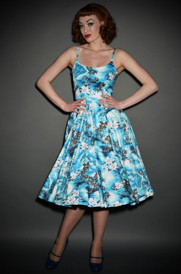Priscilla 50s style Midi Swing dress in blue Hawaiian Print at Deadly is the Female