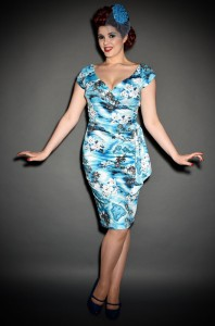 50's style Hawaiian print Hourglass wiggle dress at Deadly is the Female