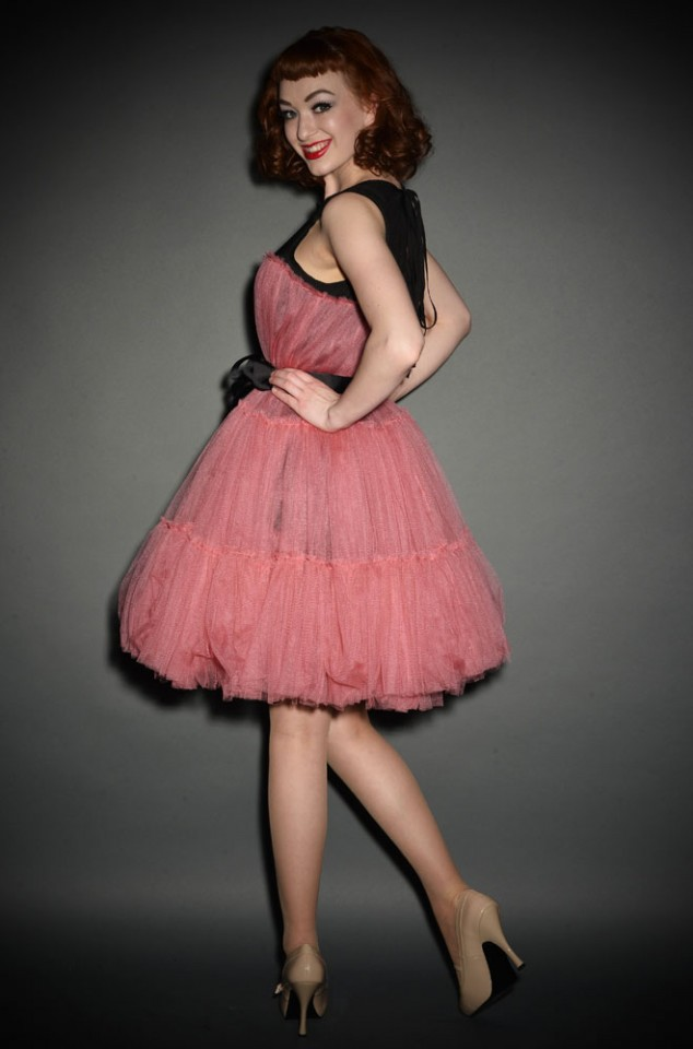 50s Vintage style Princess Tulle Prom Dress in Pink and Black