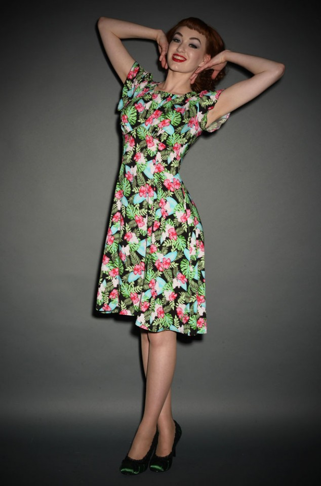 1940's style Tea Dress in Hawaiian Floral Print at Deadly is the Female