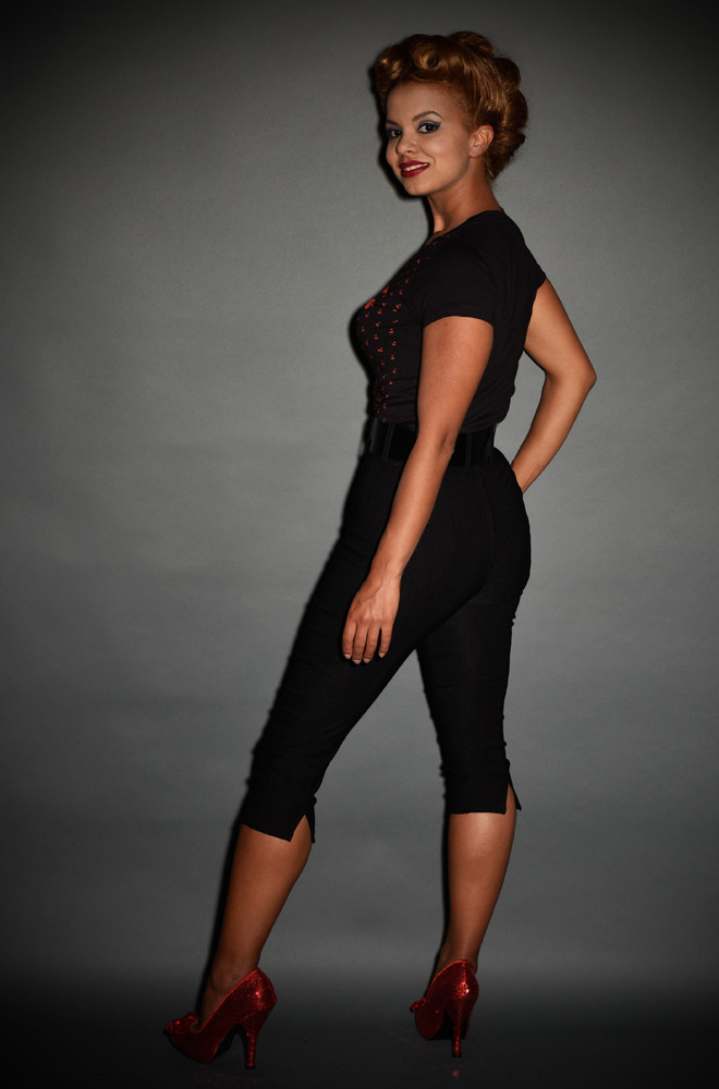 Black Deadly Dames Capri Pants at Deadly is the Female