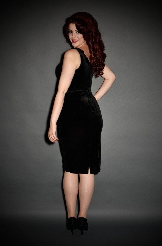 Vintage Style Black Velvet Gilda Dress by Laura Byrnes at Deadly is the Female