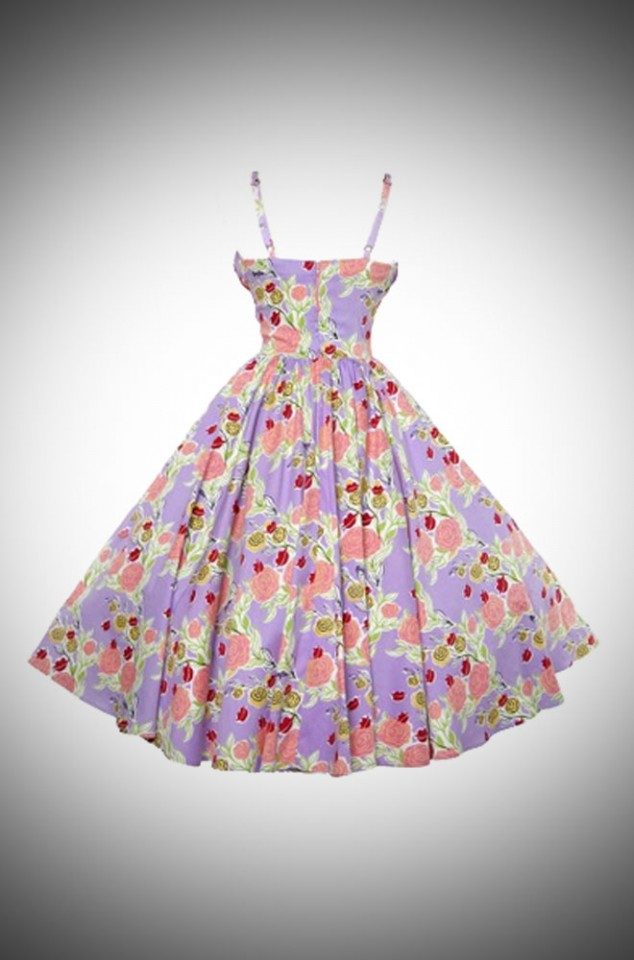 Ella dress in Mary Blair Lips & Roses print in lavender - a 50's style dress by PinupGirl