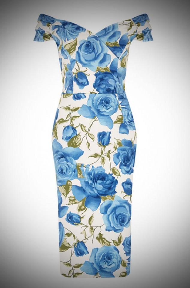 1950's style China Blue Sorrento Rose Fatale wiggle dress