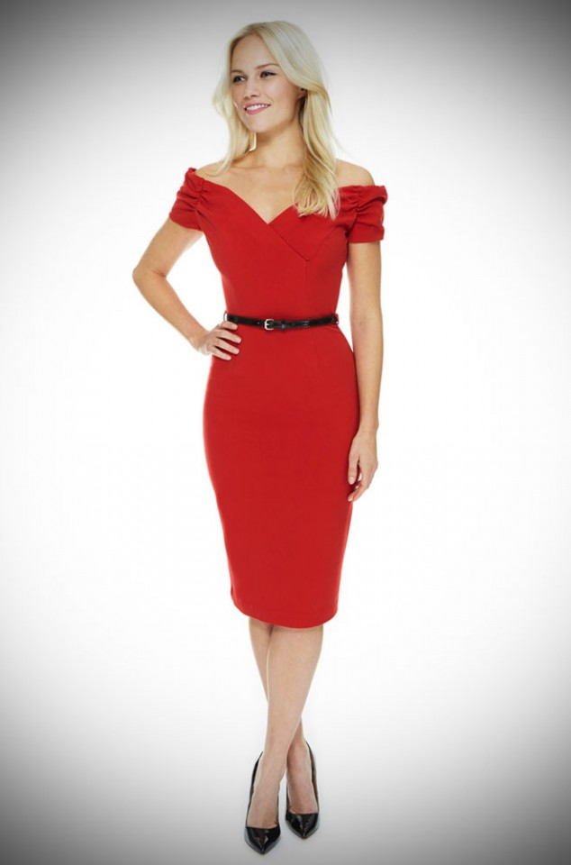1950's style red Bardot off the shoulder Fatale wiggle dress by the Pretty Dress Company