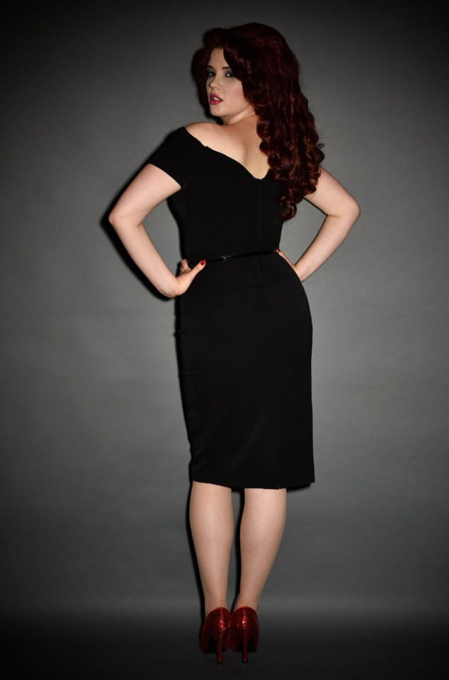 1950's style black Bardot off the shoulder Fatale wiggle dress by the Pretty Dress Company