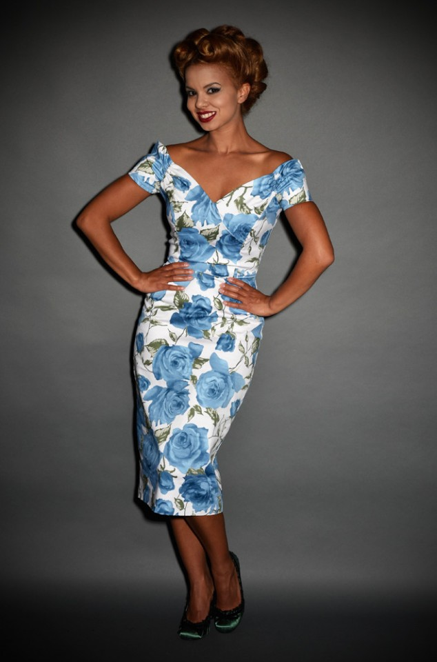 Blue Rose Fatale Dress, a 1950's style Sorrento Rose wiggle dress by The Pretty Dress Company