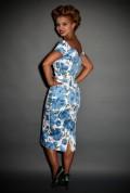 1950's style China Blue Sorrento Rose Fatale pretty dress company wiggle dress