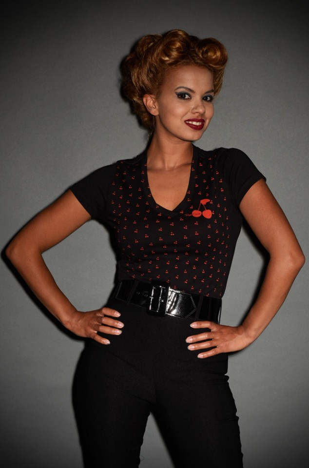Black and Red V Neck Cherry tshirt at Deadly is the Female by Steady Clothing