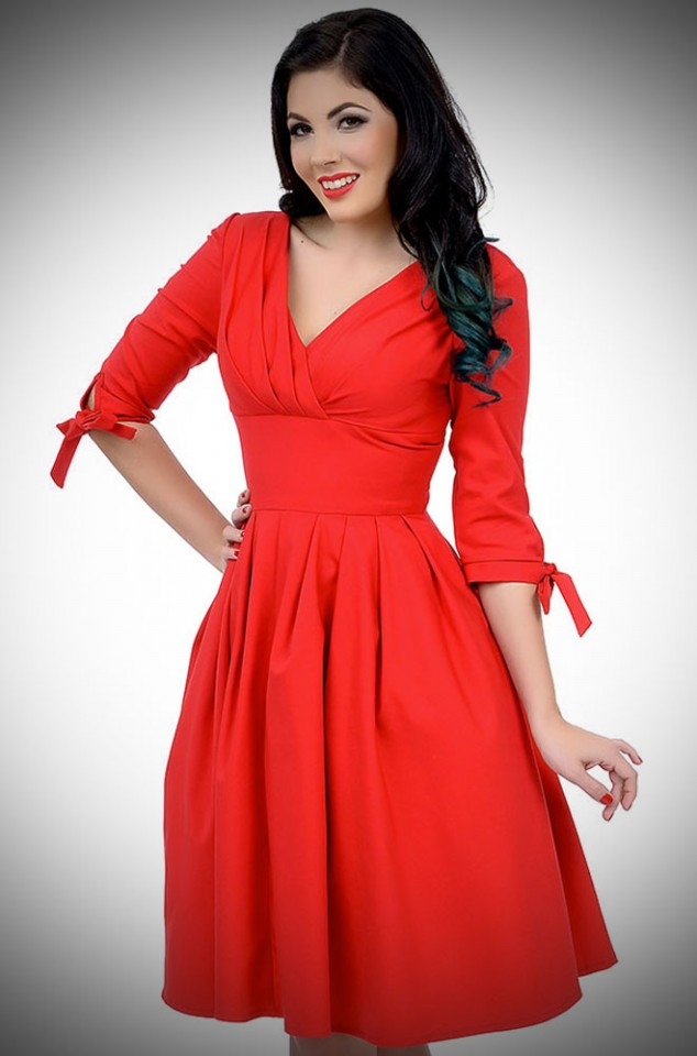 Red 1950's style Diana Swing Dress with built in crinoline