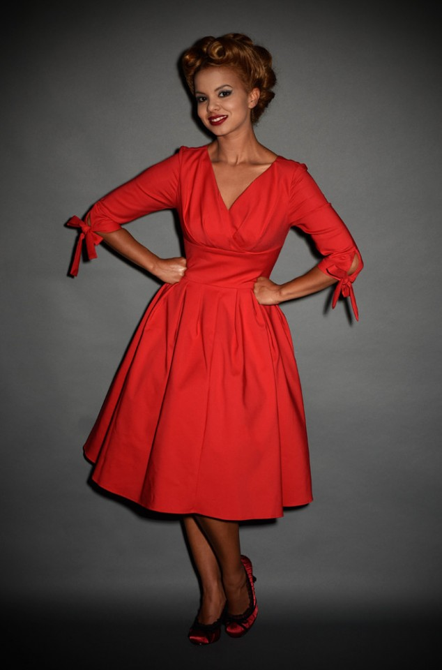 Red 1950's style Diana Swing Dress with built in crinoline by unique vintage