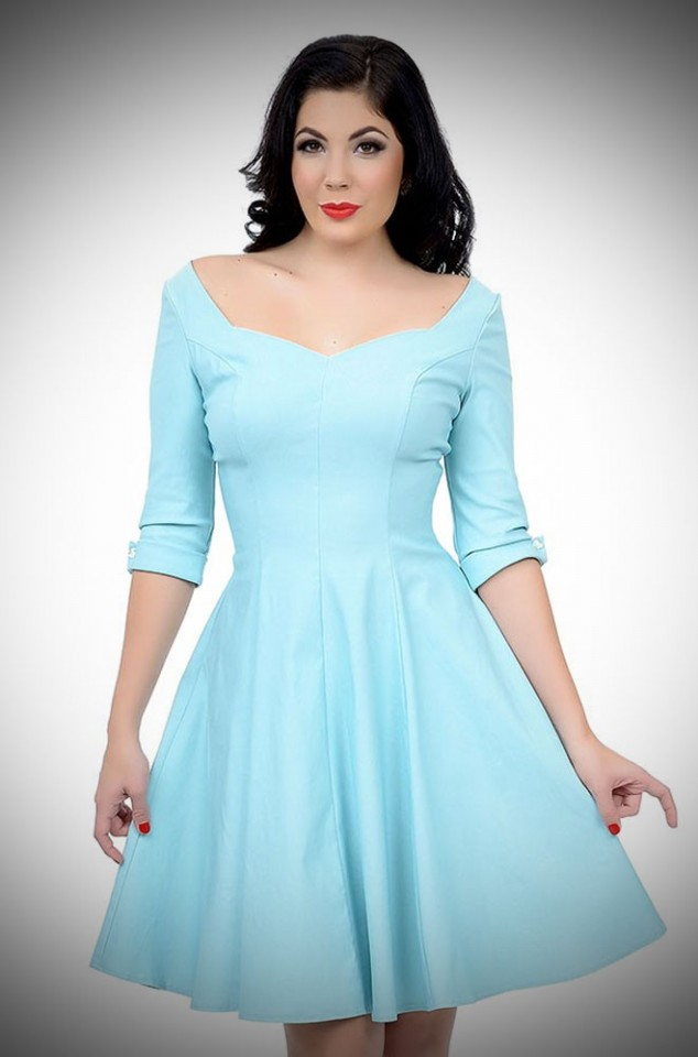 1950's style Grace Swing Dress with three quarter sleeves in sky blue