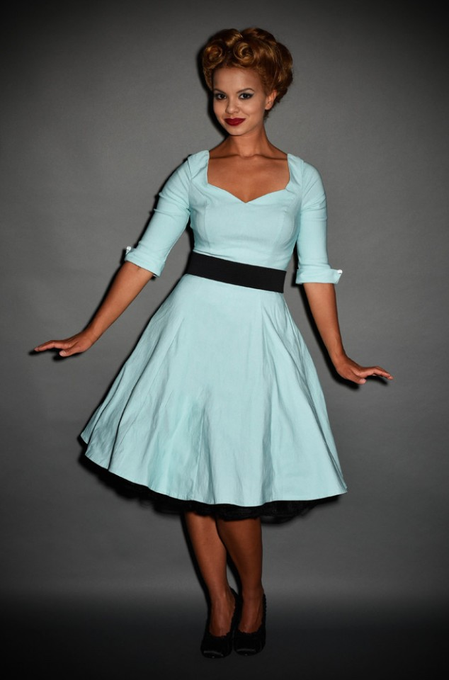 1950's style Grace Swing Dress with 3/4 sleeves in Sky Blue