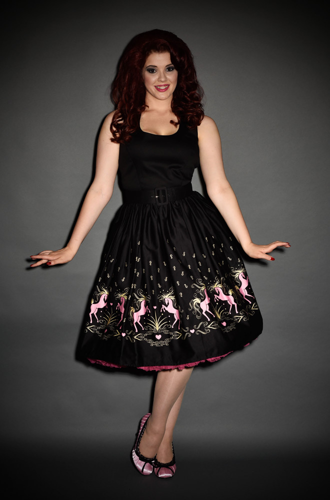 Dancing Horses Aurora dress by Pinup Girl Clothing at UK Stockists, Deadly is the Female