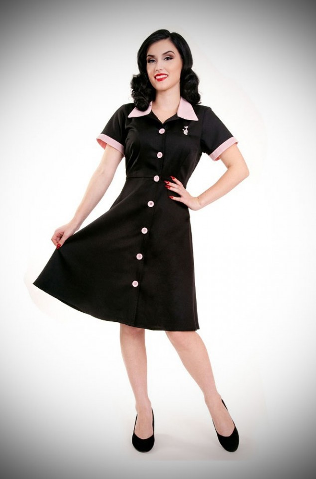 1950's American Diner style Ava House Dress in Black & Pink
