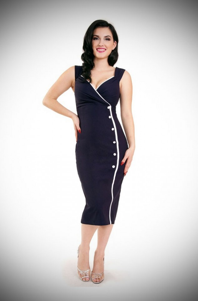 1950's style navy wiggle dress in Navy and White by Steady Clothing