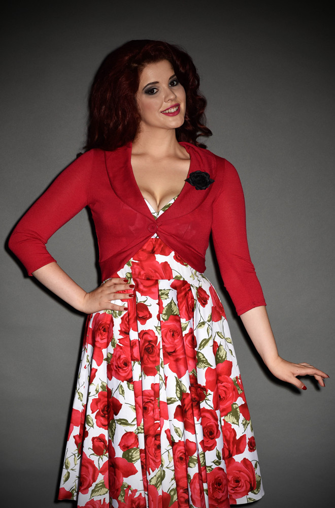 Vintage style Red cardigan with rose brooch.